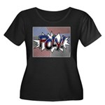 Halftone Poly Typography Plus Size T-Shirt