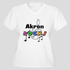 Akron Rocks Women's Plus Size V-Neck T-Shirt