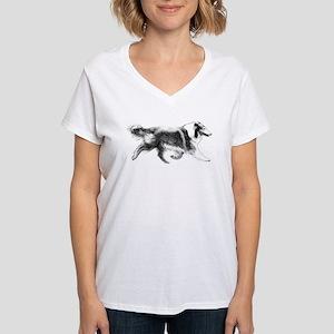 Running Collie Women's V-Neck T-Shirt