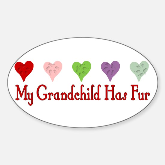 Furry Grandchild Oval Decal