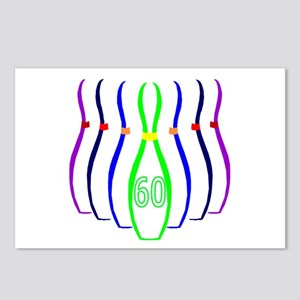 60th birthday bowling Pins Postcards (Package of 8