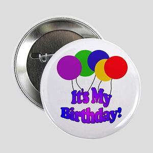 Balloons It's My Birthday Button
