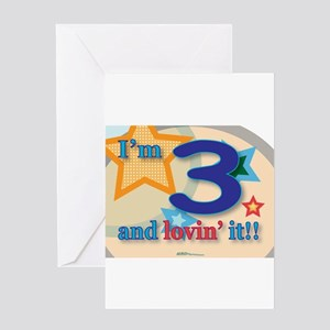 3 and lovin' it Greeting Card