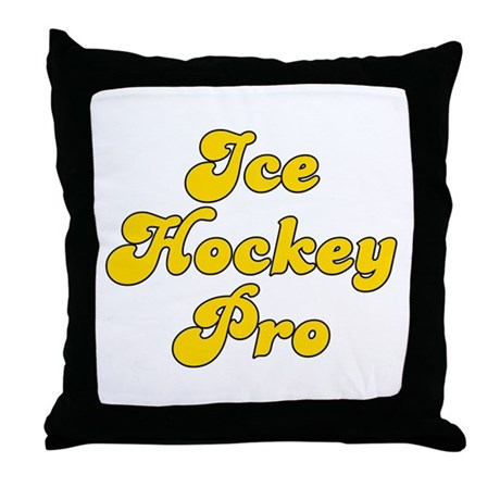 Retro Ice Hockey .. (Gold) Throw Pillow