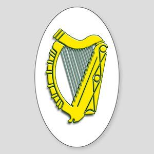 Celtic, Gaelic, Irish Harp Sticker (Oval)