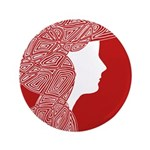 """Red Lady 3.5"""" Button"""