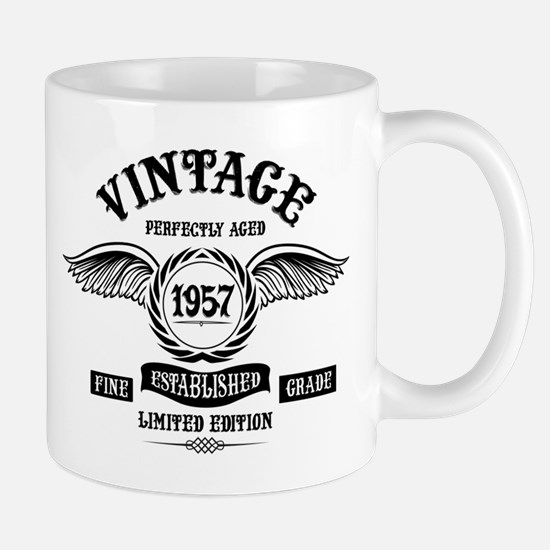 Vintage Perfectly Aged 1957 Mugs