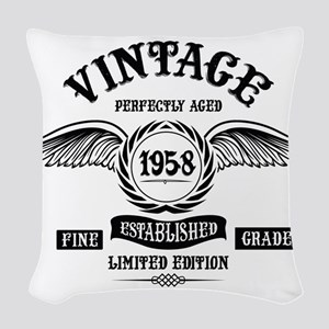 Vintage Perfectly Aged 1958 Woven Throw Pillow