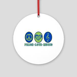 PEACE - LOVE - MUSIC Ornament (Round)
