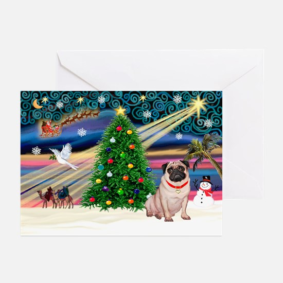 Xmas Magic/Pug (21F) Greeting Cards (Pk of 10)