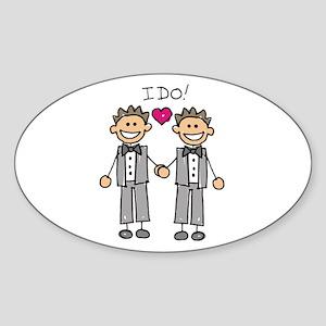 Gay Marriage - I Do Oval Sticker