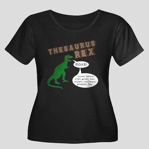 Thesaurus Rex Women's Plus Size Scoop Neck Dark T-