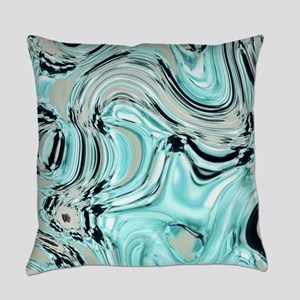 turquoise aqua blue swirls Everyday Pillow