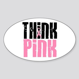 Think Pink 5 Oval Sticker