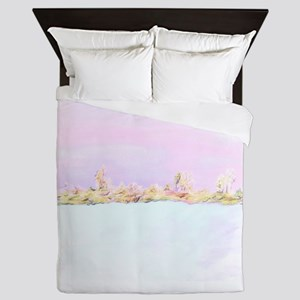 Barely There Pink Abstract Landscape Queen Duvet