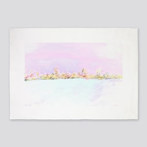 Barely There Pink Abstract Landscap 5'x7'Area Rug