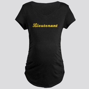 Retro Lieutenant (Gold) Maternity Dark T-Shirt
