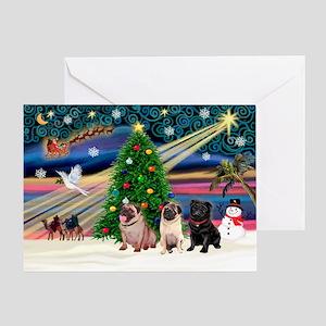 Xmas Magic & 3 Pugs 1b,2f Greeting Card