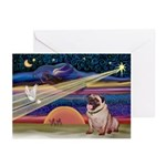 Xmas Star & Fawn Pug Greeting Cards (Pk of 20)