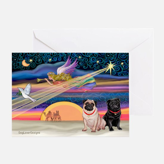 Xmas Star/Two Pugs (FB2) Greeting Card