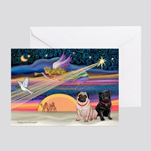 Xmas Star/Two Pugs (FB2) Greeting Cards (Pk of 20)