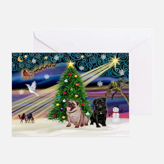X Mas Magic & Pug Pair Greeting Card