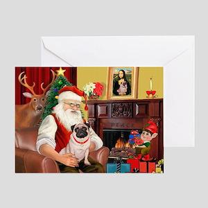 Santa's fawn Pug (#21) Greeting Card