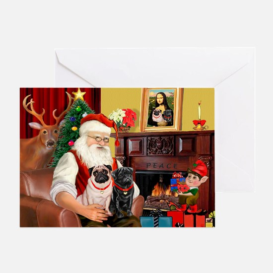 Santa's Two Pugs (P1) Greeting Card