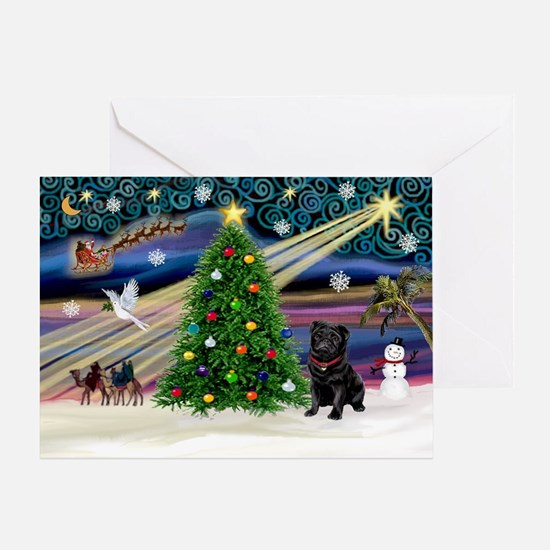 Xmas Magic & Black Pug Greeting Card