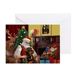 Santa's Rottweiler Greeting Cards (Pk of 20)