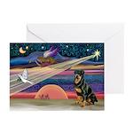 Xmas Star & Rottie Greeting Cards (Pk of 10)