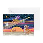Xmas Star & Corgi (#7b) Greeting Cards (Pk of 20)