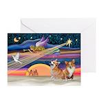 Xmas Star/2 Corgis (P2) Greeting Cards (Pk of 20)