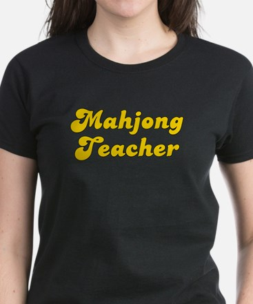 Retro Mahjong Tea.. (Gold) Women's Dark T-Shirt