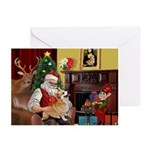 Santa's Welsh Corgi (7b) Greeting Cards (Pk of 20)