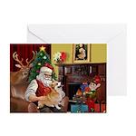 Santa's Welsh Corgi (7b) Greeting Cards (Pk of 10)