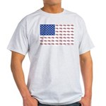 American Flag made up of Snowmobiles Light T-Shirt