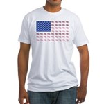 American Flag made up of Snowmobile Fitted T-Shirt