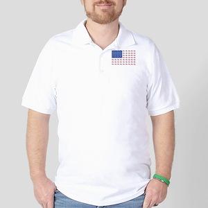 American Flag Made of Snowmobiles Golf Shirt