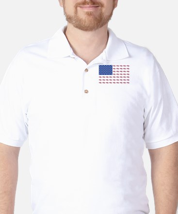 American Flag Made of Snowmobiles Golf Shirt