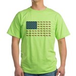 American Flag Made of Snowmobiles Green T-Shirt