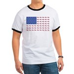 American Flag made up of Snowmobiles Ringer T
