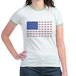 American Flag Made of Snowmobiles Jr. Ringer T-Shi