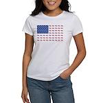 American Flag Made of Snowmobiles Women's T-Shirt