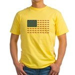 American Flag Made of Snowmobiles Yellow T-Shirt