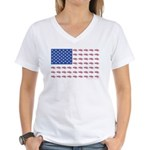American Flag Made of Snowmobiles Women's V-Neck T
