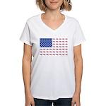 American Flag made up of Sn Women's V-Neck T-Shirt