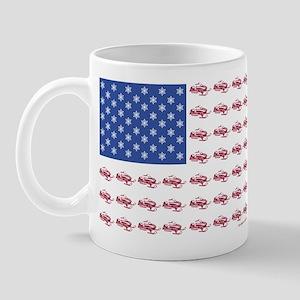 American Flag Made of Snowmobiles Mug