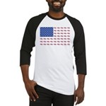 American Flag made up of Snowmobiles Baseball Tee