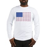 American Flag made up of Snowm Long Sleeve T-Shirt